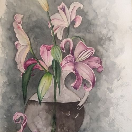 spring is here, 11 x 16 inch, sonu chopra,11x16inch,fabriano sheet,paintings,flower paintings,still life paintings,paintings for living room,paintings for bedroom,paintings for office,paintings for bathroom,paintings for hotel,watercolor,GAL0854724287