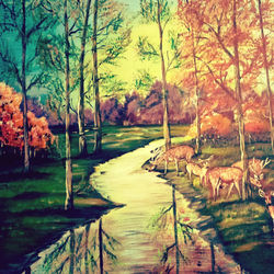 green forest, 20 x 28 inch, rajendra  gupta,20x28inch,canvas,paintings,wildlife paintings,landscape paintings,paintings for living room,paintings for office,paintings for kids room,paintings for hotel,paintings for school,acrylic color,GAL01284624294