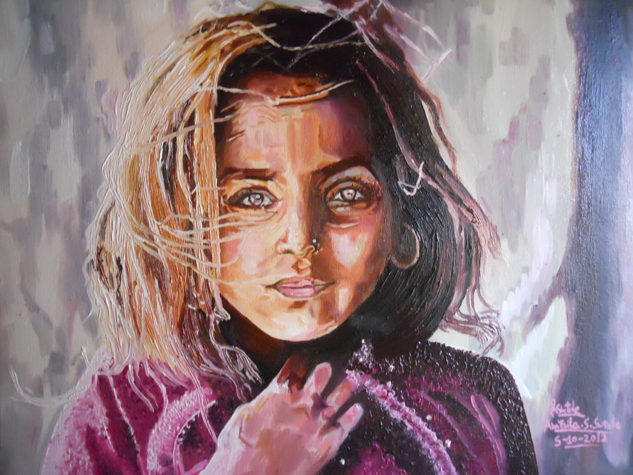 beautifull innocent girl, 20 x 16 inch, amruta dabhekar,portrait paintings,paintings for living room,figurative paintings,paintings for office,canvas,oil,20x16inch,GAL09542434