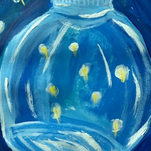 firefly in a jar, 14 x 12 inch, jyoti arya,14x12inch,thick paper,paintings,abstract paintings,paintings for dining room,paintings for kitchen,acrylic color,GAL01380324347