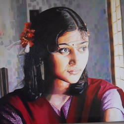 beautifull girl portrait, 25 x 18 inch, amruta dabhekar,portrait paintings,paintings for office,figurative paintings,paintings for living room,canvas,acrylic color,25x18inch,GAL09542435