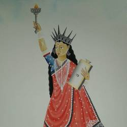 statue of liberty in kalighat pot style, 12 x 15 inch, bhaskar chitrakar,12x15inch,fabriano sheet,kalighat painting,watercolor,GAL0184624356