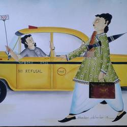 babu in no refusal taxi problem , 12 x 15 inch, bhaskar chitrakar,12x15inch,fabriano sheet,paintings,kalighat painting,watercolor,GAL0184624357