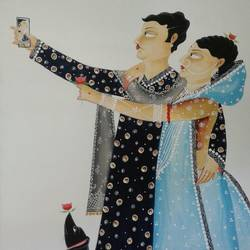 babu is taking selfie with his bibi and dog with rose, 12 x 15 inch, bhaskar chitrakar,12x15inch,fabriano sheet,paintings,kalighat painting,watercolor,GAL0184624358