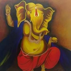 ganesha, 36 x 48 inch, sandhya singh,36x48inch,canvas,religious paintings,ganesha paintings,paintings for living room,paintings for living room,acrylic color,GAL0874924360
