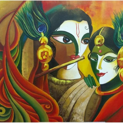 radha krishna the divine duo, 48 x 36 inch, sandhya singh,48x36inch,canvas,religious paintings,paintings for living room,paintings for living room,acrylic color,GAL0874924362