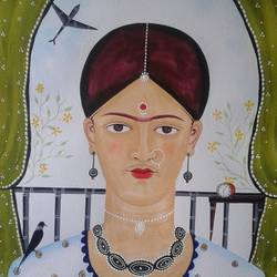 """kalighat pata chitra"" inspired by ""frida kahlo"", 12 x 15 inch, bhaskar chitrakar,12x15inch,fabriano sheet,paintings,kalighat painting,watercolor,GAL0184624363"