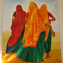 rural women, 30 x 40 inch, navya singh,30x40inch,canvas,paintings,realistic paintings,oil color,GAL0686824378