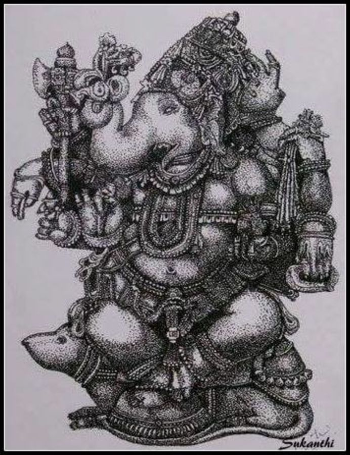 ganesha, 12 x 16 inch, kanthi sukanthi,fine art drawings,paintings for office,religious paintings,paintings for living room,ganesha paintings,thick paper,ball point pen,12x16inch,GAL07242438,vinayak,ekadanta,ganpati,lambodar,peace,devotion,religious,lord ganesha,lordganpati,ganpati,ganesha,lord ganesh,elephant god,religious,ganpati bappa morya,mouse,mushakraj,ladoo,sweets