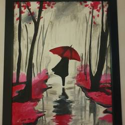 girl with the red umbrella, 14 x 18 inch, navya singh,14x18inch,canvas board,paintings,nature paintings,acrylic color,GAL0686824381