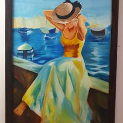 gorl by the ocean, 27 x 39 inch, navya singh,27x39inch,canvas,paintings,figurative paintings,oil color,GAL0686824382