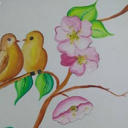 nature'love, 11 x 15 inch, juhi gupta,11x15inch,drawing paper,paintings,nature paintings,love paintings,paintings for bedroom,paintings for hotel,paintings for school,poster color,GAL01358924383