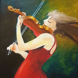 girl with the violin, 33 x 43 inch, navya singh,33x43inch,canvas,paintings,realistic paintings,oil color,GAL0686824389