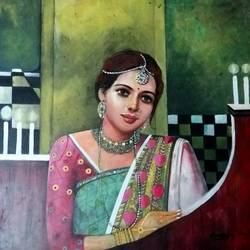 pretty women, 24 x 28 inch, chandreyee dutta,figurative paintings,portrait paintings,paintings for living room,canvas,acrylic color,24x28inch,GAL08352439