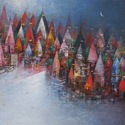 temple town, 30 x 24 inch, m. singh,30x24inch,canvas,paintings,abstract paintings,cityscape paintings,landscape paintings,modern art paintings,religious paintings,nature paintings,abstract expressionism paintings,expressionism paintings,contemporary paintings,paintings for dining room,paintings for living room,paintings for bedroom,paintings for office,paintings for kids room,paintings for hotel,paintings for school,paintings for hospital,acrylic color,GAL0537724393,town,temple,water