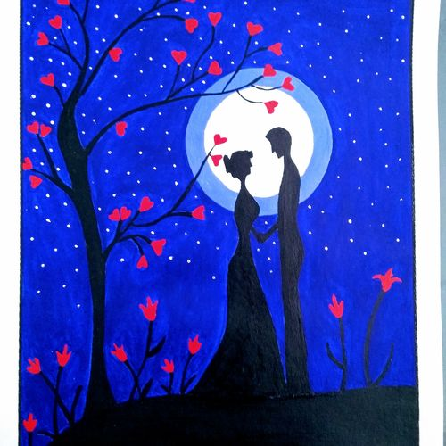 valentine's day, 11 x 15 inch, geeta kwatra,11x15inch,handmade paper,paintings,abstract paintings,love paintings,paintings for bedroom,acrylic color,GAL0899124394