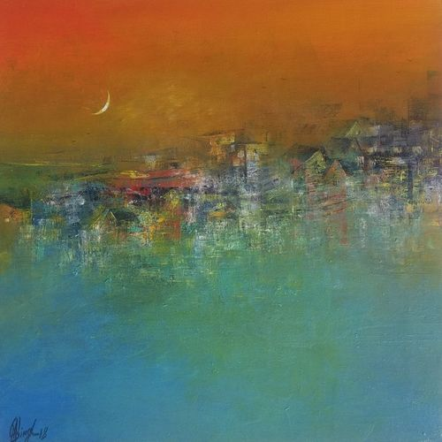 distance view in evening, 18 x 18 inch, m. singh,18x18inch,canvas,paintings,abstract paintings,modern art paintings,nature paintings,abstract expressionism paintings,expressionism paintings,paintings for dining room,paintings for living room,paintings for bedroom,paintings for office,paintings for kids room,paintings for hotel,paintings for school,paintings for hospital,acrylic color,GAL0537724398