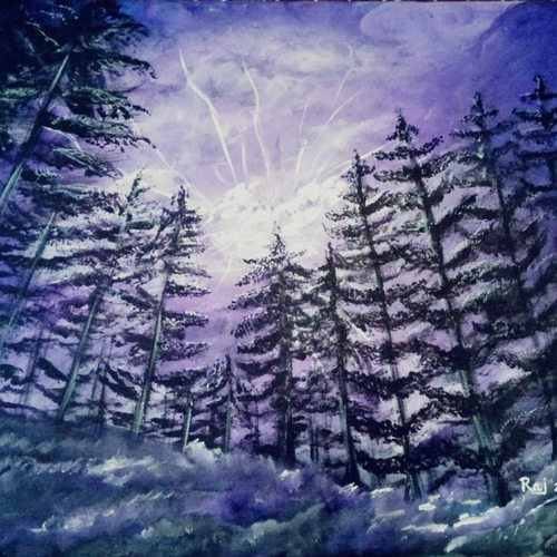lightining forest, 20 x 28 inch, rajendra  gupta,20x28inch,canvas,paintings,nature paintings,paintings for dining room,paintings for living room,paintings for bedroom,paintings for office,paintings for hotel,paintings for school,acrylic color,GAL01284624399
