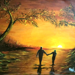 the golden forest, 20 x 28 inch, rajendra  gupta,20x28inch,canvas,paintings,landscape paintings,nature paintings,love paintings,paintings for dining room,paintings for living room,paintings for bedroom,paintings for hotel,paintings for dining room,paintings for living room,paintings for bedroom,paintings for hotel,acrylic color,GAL01284624400
