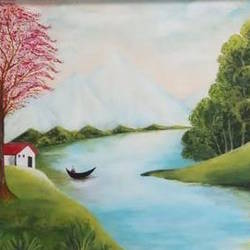 new morning, 24 x 18 inch, nafisa vasi,24x18inch,canvas,paintings,landscape paintings,nature paintings,paintings for dining room,paintings for living room,paintings for bedroom,paintings for office,paintings for kids room,paintings for hotel,paintings for school,paintings for hospital,acrylic color,GAL01397324404