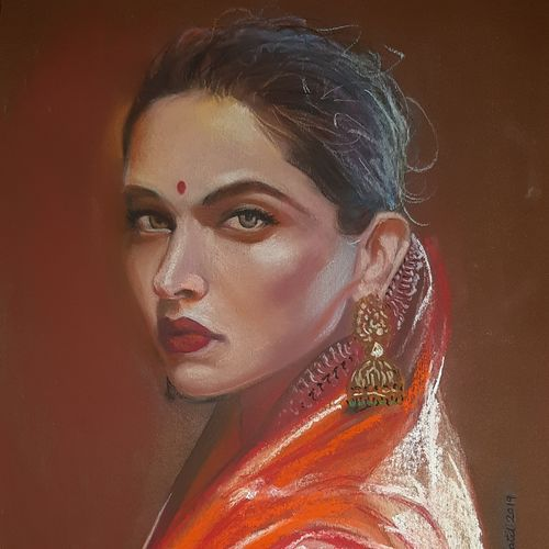 deepika padukone, 11 x 15 inch, ishita patel,11x15inch,paper,paintings,portrait paintings,paintings for dining room,paintings for living room,paintings for bedroom,paintings for hotel,pastel color,GAL01397524407