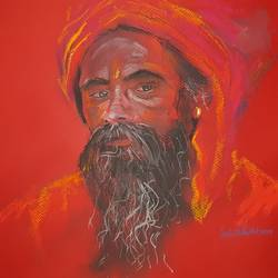 hindu saint , 17 x 12 inch, ishita patel,17x12inch,paper,paintings,religious paintings,portrait paintings,paintings for living room,paintings for office,paintings for school,pastel color,GAL01397524408