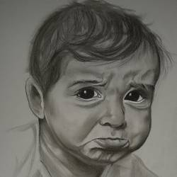 crying baby, 11 x 14 inch, ishita patel,11x14inch,paper,paintings,portrait paintings,baby paintings,paintings for dining room,paintings for living room,paintings for bedroom,paintings for kids room,paintings for school,pastel color,GAL01397524409