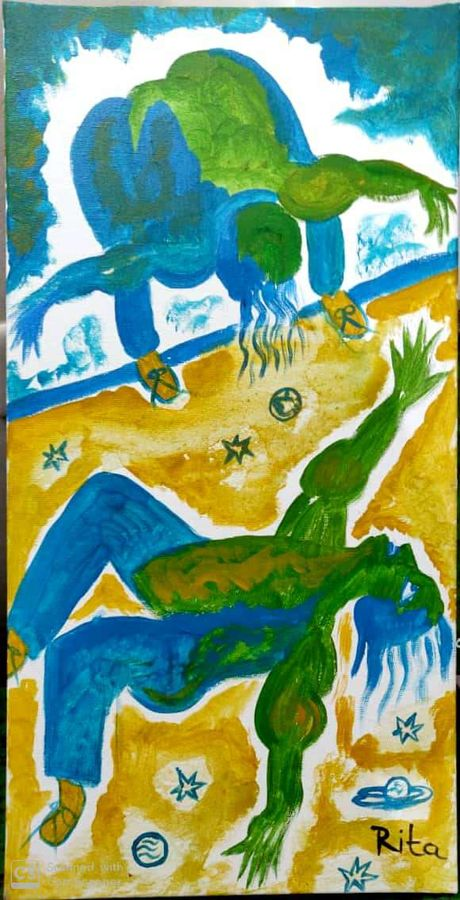 man jumping into universe, 12 x 24 inch, rita dash,12x24inch,canvas,paintings,abstract paintings,conceptual paintings,abstract expressionism paintings,expressionism paintings,paintings for dining room,paintings for living room,paintings for bedroom,paintings for office,paintings for hotel,paintings for school,acrylic color,wood,GAL01382124434