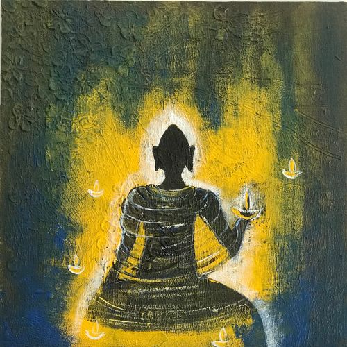 buddha, 12 x 12 inch, shagun bhardwaj,12x12inch,canvas,paintings,abstract paintings,buddha paintings,paintings for dining room,paintings for living room,paintings for bedroom,paintings for office,paintings for kids room,paintings for hotel,paintings for kitchen,paintings for school,paintings for hospital,acrylic color,GAL01399124438