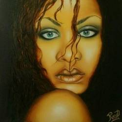 rihanna, 20 x 27 inch, renu  prajapati,portrait paintings,paintings for living room,canvas,oil,20x27inch,GAL09742444