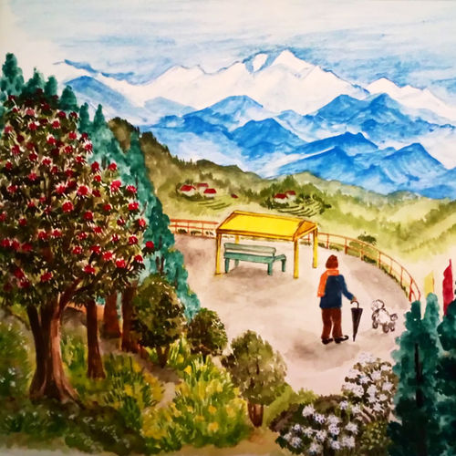 the view point, 12 x 10 inch, sumana das,12x10inch,thick paper,landscape paintings,still life paintings,nature paintings,impressionist paintings,contemporary paintings,paintings for living room,paintings for bedroom,paintings for hotel,paintings for living room,paintings for bedroom,paintings for hotel,watercolor,GAL01396124440