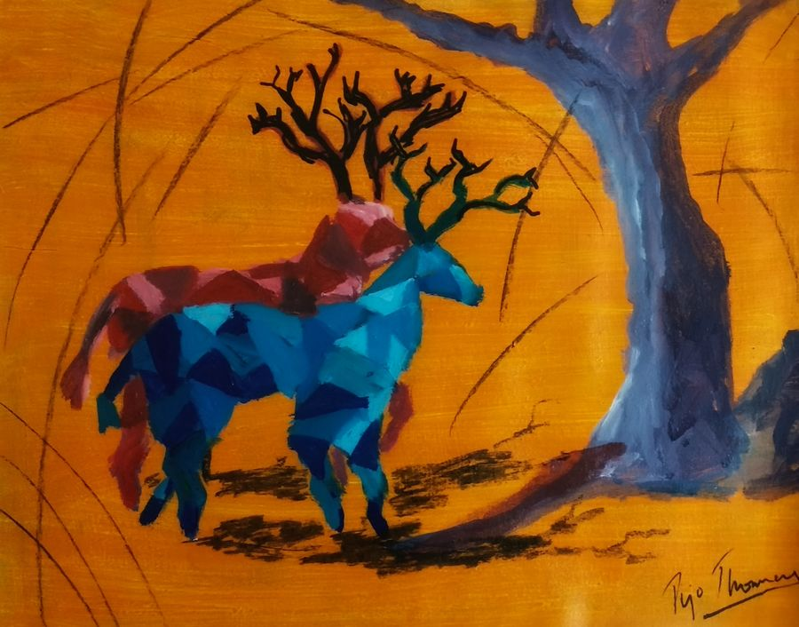 in togetherness, 20 x 16 inch, tijo thomas,20x16inch,canvas,paintings,abstract paintings,wildlife paintings,figurative paintings,modern art paintings,conceptual paintings,nature paintings,abstract expressionism paintings,art deco paintings,animal paintings,contemporary paintings,love paintings,paintings for dining room,paintings for living room,paintings for bedroom,paintings for office,paintings for kids room,paintings for hotel,paintings for school,paintings for hospital,acrylic color,charcoal,fabric,GAL01171324441