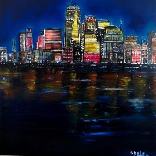 new york, 12 x 16 inch, shalu chaudhary,12x16inch,canvas,paintings,cityscape paintings,paintings for dining room,paintings for living room,paintings for bedroom,paintings for office,paintings for bathroom,paintings for kids room,paintings for hotel,paintings for kitchen,paintings for school,paintings for hospital,oil color,GAL01195724458