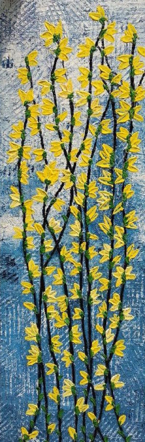Absract textured painting of vines