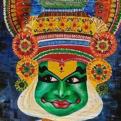kathakali face, 20 x 35 inch, itishree  sahu,20x35inch,cloth,paintings,figurative paintings,folk art paintings,portrait paintings,expressionism paintings,portraiture,paintings for living room,paintings for bedroom,paintings for office,paintings for kids room,paintings for hotel,paintings for school,paintings for hospital,acrylic color,GAL01387324468