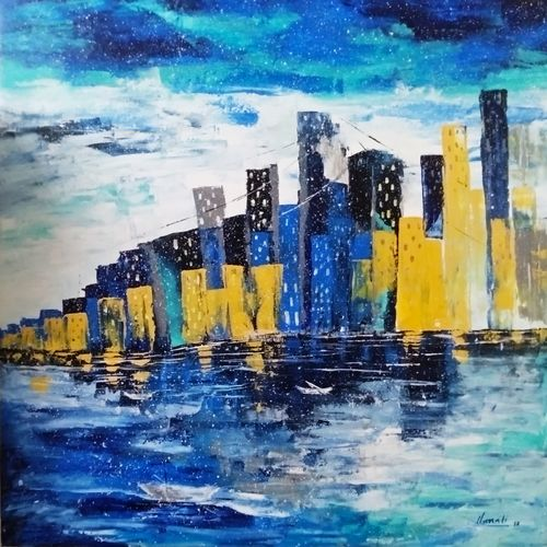 skyscrapers, 36 x 36 inch, unnati s khare ,36x36inch,canvas,paintings,abstract paintings,cityscape paintings,landscape paintings,paintings for dining room,paintings for living room,paintings for bedroom,paintings for office,paintings for hotel,paintings for hospital,acrylic color,GAL01401624473