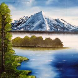 snowy mountain, 31 x 25 inch, unnati s khare ,31x25inch,canvas,paintings,landscape paintings,nature paintings,paintings for dining room,paintings for living room,paintings for bedroom,paintings for office,paintings for hotel,paintings for hospital,oil color,GAL01401624474