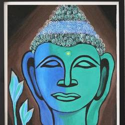 green buddha, 18 x 14 inch, shivranjani  tomar ,18x14inch,canvas,buddha paintings,religious paintings,paintings for dining room,paintings for living room,paintings for bedroom,paintings for dining room,paintings for living room,paintings for bedroom,acrylic color,GAL01285924502
