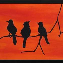 three birds, 16 x 12 inch, shivranjani  tomar ,16x12inch,canvas,paintings,wildlife paintings,nature paintings,paintings for living room,paintings for bedroom,paintings for hotel,acrylic color,GAL01285924504