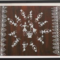 warli circle, 24 x 18 inch, shivranjani  tomar ,24x18inch,canvas,paintings,warli paintings,paintings for dining room,paintings for living room,paintings for bedroom,acrylic color,GAL01285924505