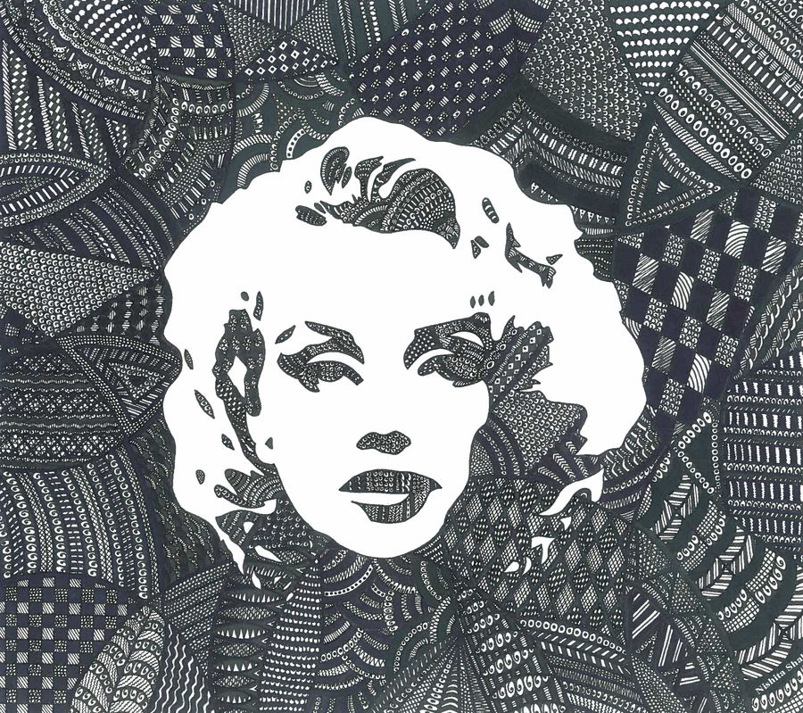 marilyn monroe micro doodle hand art, 12 x 11 inch, nishita shah,paintings for office,figurative drawings,modern drawings,paper,pen color,12x11inch,GAL09732451
