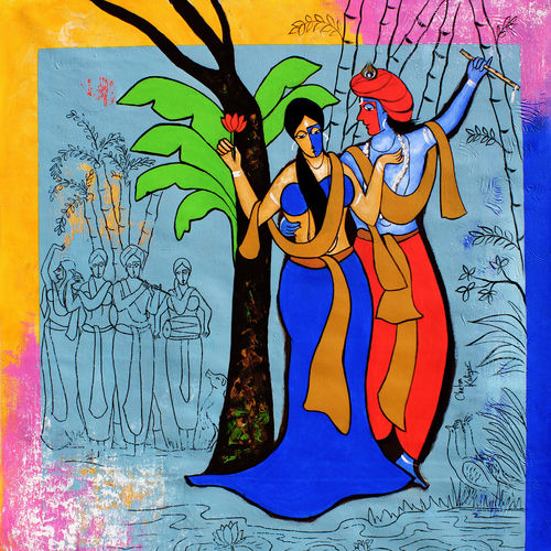 radha krishna , 35 x 35 inch, chetan katigar,35x35inch,canvas,paintings,figurative paintings,modern art paintings,religious paintings,art deco paintings,expressionism paintings,impressionist paintings,radha krishna paintings,contemporary paintings,love paintings,paintings for living room,paintings for bedroom,paintings for office,paintings for hotel,acrylic color,GAL026624510