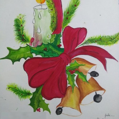 christmas love, 11 x 15 inch, juhi gupta,11x15inch,paper,paintings,portrait paintings,paintings for dining room,paintings for living room,paintings for kids room,paintings for school,poster color,watercolor,GAL01358924513
