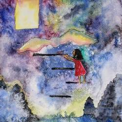 walk to the heavens , 12 x 17 inch, sreenidhi bulusu,12x17inch,thick paper,landscape paintings,paintings for bedroom,paintings for kids room,paintings for bedroom,paintings for kids room,watercolor,GAL01350424515