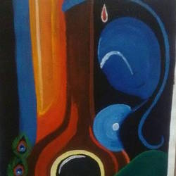radha with veena , 12 x 16 inch, varsha kashyap,12x16inch,canvas,paintings,modern art paintings,abstract expressionism paintings,radha krishna paintings,love paintings,paintings for dining room,paintings for living room,paintings for bedroom,paintings for school,acrylic color,GAL0846824520