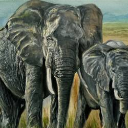 motherhood, 16 x 12 inch, nishad kariyadan,16x12inch,canvas,wildlife paintings,animal paintings,elephant paintings,paintings for living room,paintings for bedroom,paintings for hotel,paintings for living room,paintings for bedroom,paintings for hotel,oil color,GAL01401124522