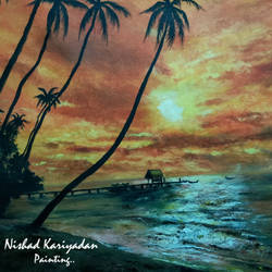 beautiful beach sunset, 29 x 20 inch, nishad kariyadan,29x20inch,canvas,paintings,landscape paintings,nature paintings,photorealism,realism paintings,realistic paintings,paintings for dining room,paintings for living room,paintings for bedroom,paintings for hotel,oil color,GAL01401124523