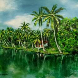 gods own country- kerala backwaters, 24 x 18 inch, nishad kariyadan,24x18inch,canvas,paintings,landscape paintings,nature paintings,realism paintings,paintings for dining room,paintings for living room,paintings for bedroom,paintings for hotel,oil color,GAL01401124524