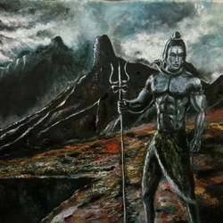 mighty shiva, 29 x 22 inch, nishad kariyadan,29x22inch,canvas,paintings,lord shiva paintings,paintings for dining room,paintings for living room,paintings for bedroom,oil color,GAL01401124526
