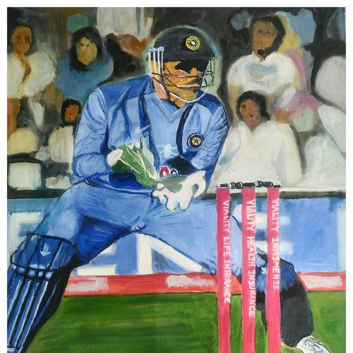 captain cool, 28 x 32 inch, rajinder koul,28x32inch,canvas,paintings,realistic paintings,paintings for dining room,paintings for living room,paintings for school,acrylic color,GAL01404524531